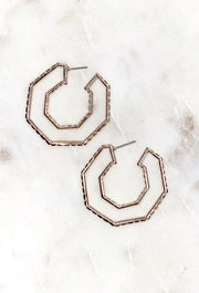 Aria Hexagon Hoop Earrings, 6 sided gold metal earrings with embossed texture