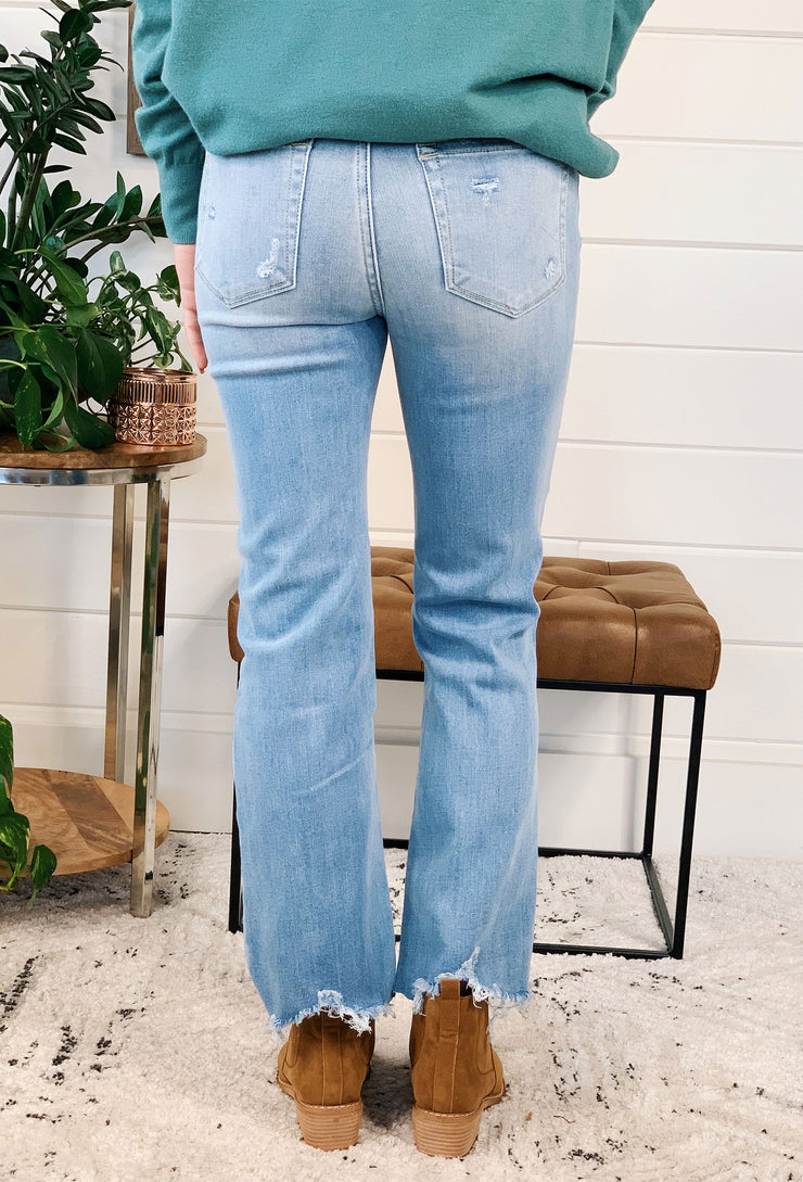 High Rise Ankle Straight Jeans, light wash distressed denim with raw hem cut