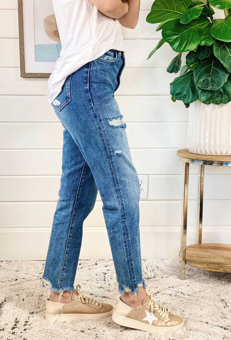 High Rise Distressed Mom Jeans by Vervet, medium washed distressed high waisted mom jeans