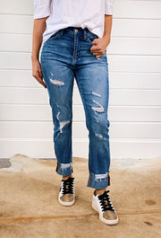 High Rise Slim Straight Jeans by Vervet, straight distressed cuffed denim jeans by vervet