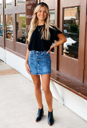 High Waisted Button Front Denim Skirt, denim skirt with buttons up the front