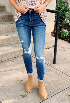 High Rise Distressed Skinny Jeans by Vervet