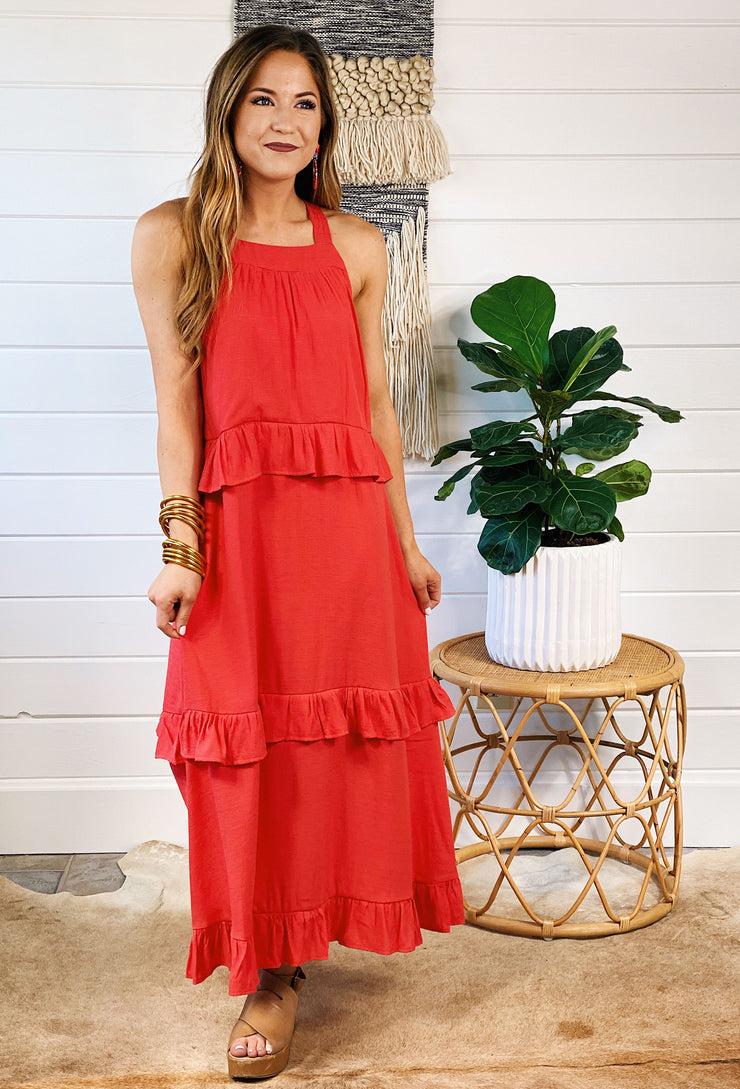 Holland Midi Dress in Fiesta Red, layered dress with ruffle detail and tie back