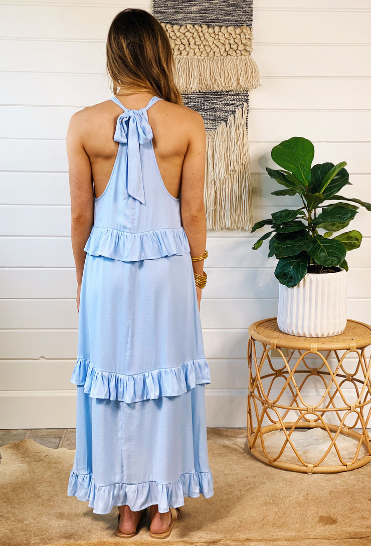 Holland Midi Dress in Powder Blue, tiered ruffle midi dress with back tie detail