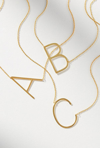 Block Letter Initial Necklace