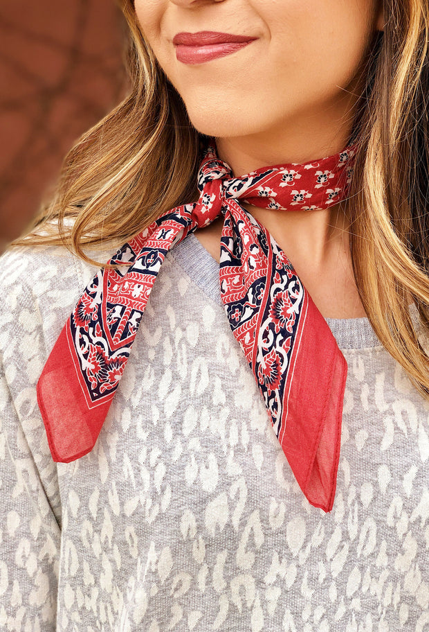 Riley Printed Scarf in Red