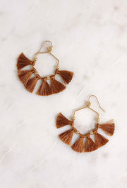 Isla Hexagon Tassel Earrings in Tan, hexagon shaped drop earrings with tan threaded tassels hanging off