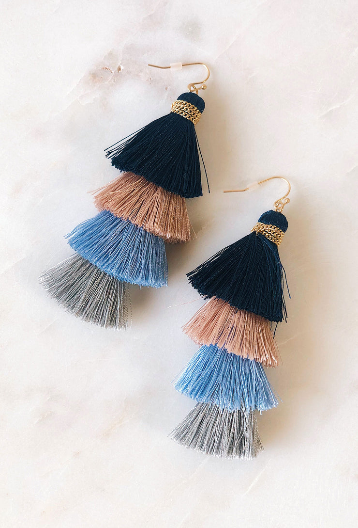 Courtney Multi Colored Tassel Earrings, fringe threaded tiered earrings in multiple cool toned colors