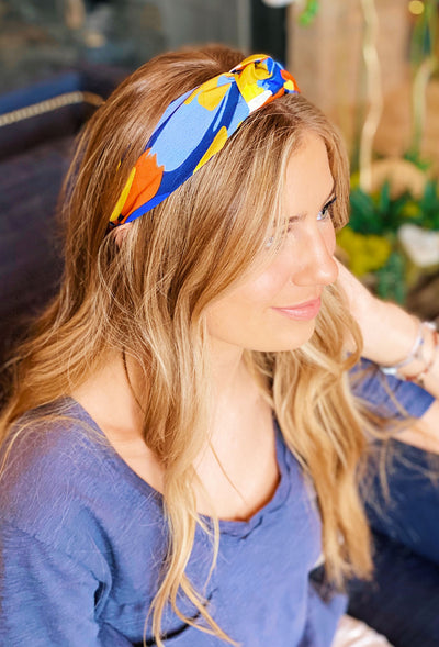 blue yellow orange headband, floral headband