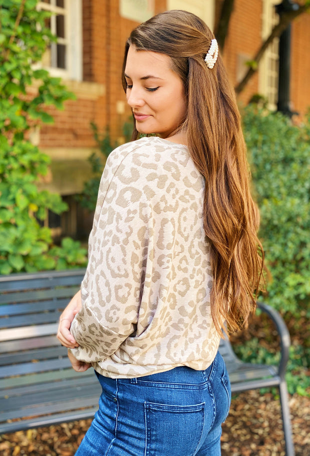 Jenny Taupe Leopard Dolman Top, taupe leopard lounge top with a dolman style sleeve