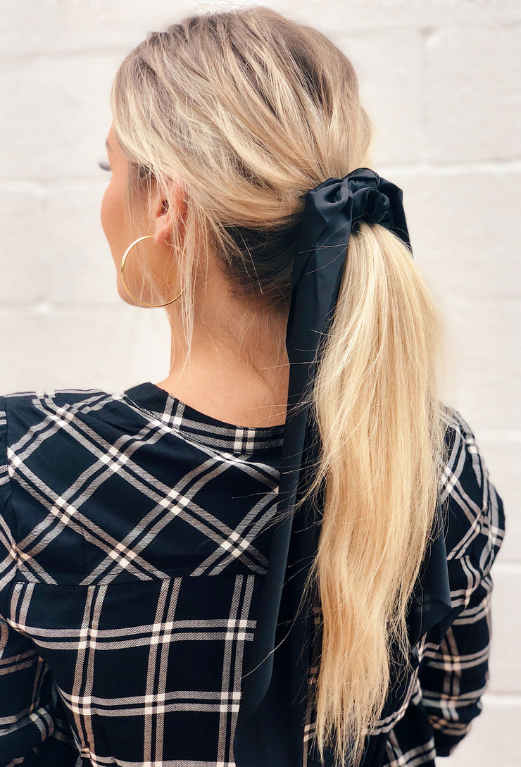 Jolene Silk Hair Scarf in Black