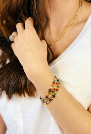 Journey Multi-Color Bracelet Set, multicolored bead 3 strand stretch bracelet with gold cross pendants