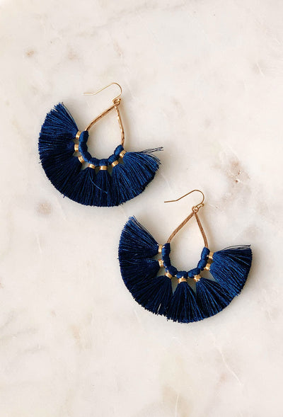 Kayla Tassel Statement Earrings in Navy