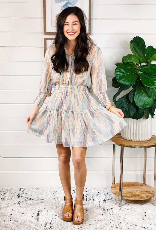 Keaton Pastel Mini Dress, abstract pastel smocked dress with gold detailing