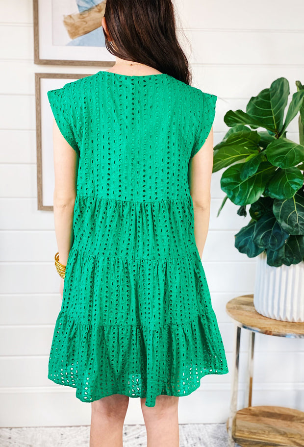 Kelly Green Eyelet Dress, green ruffle layered eyelet sundress