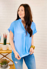 Kerry Blouse in Airy Blue, sea blue silk blouse