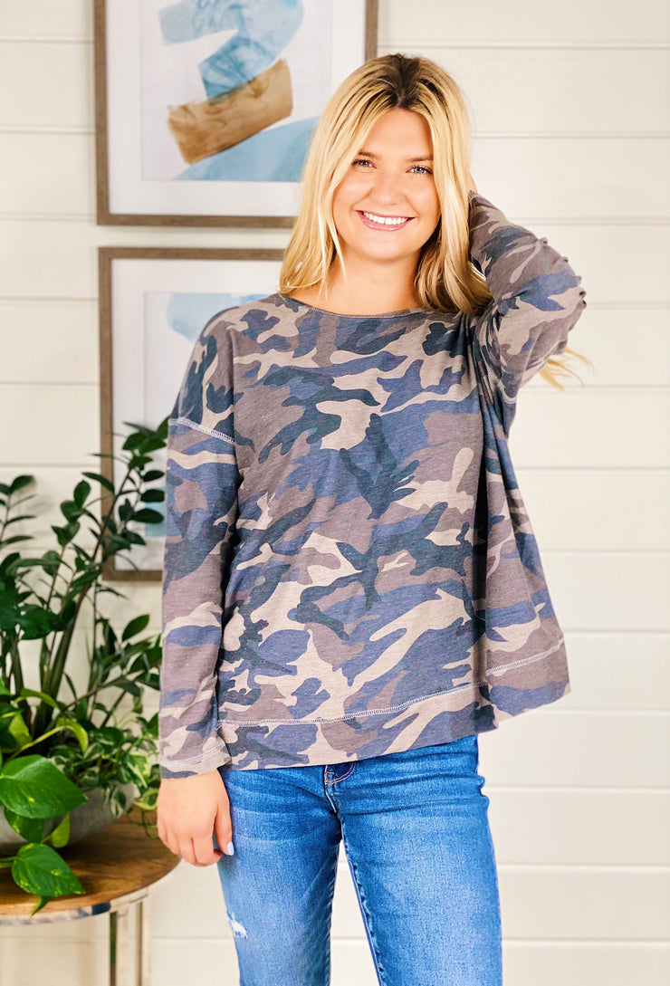 Kinley Grey Camo Top, grey camo long sleeve with cut out back detail