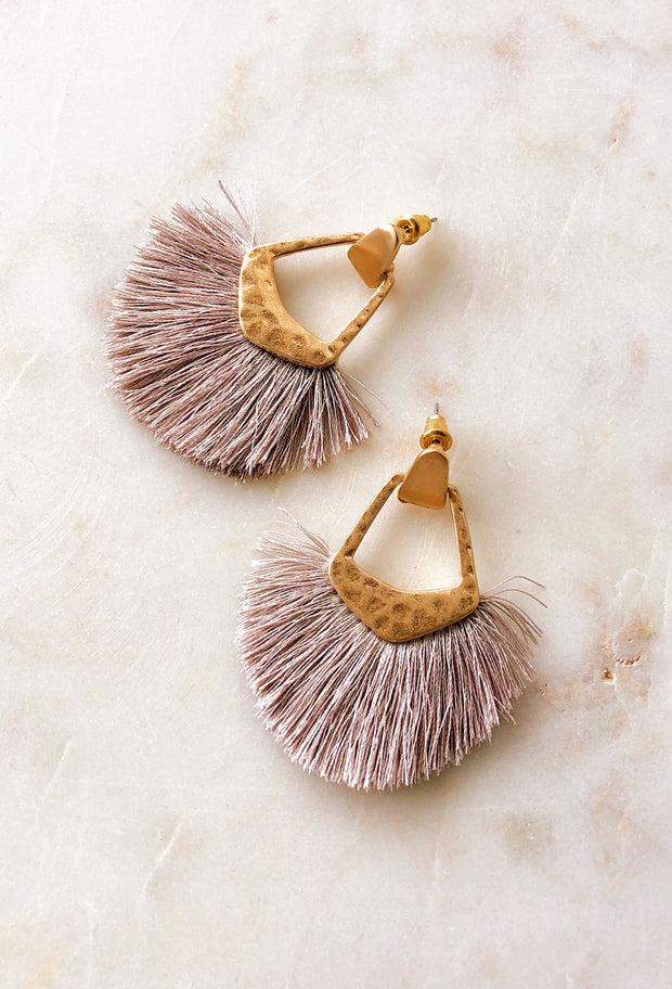 Kinsley Fringe Earrings in Grey, light gray fringe earrings with gold hardware
