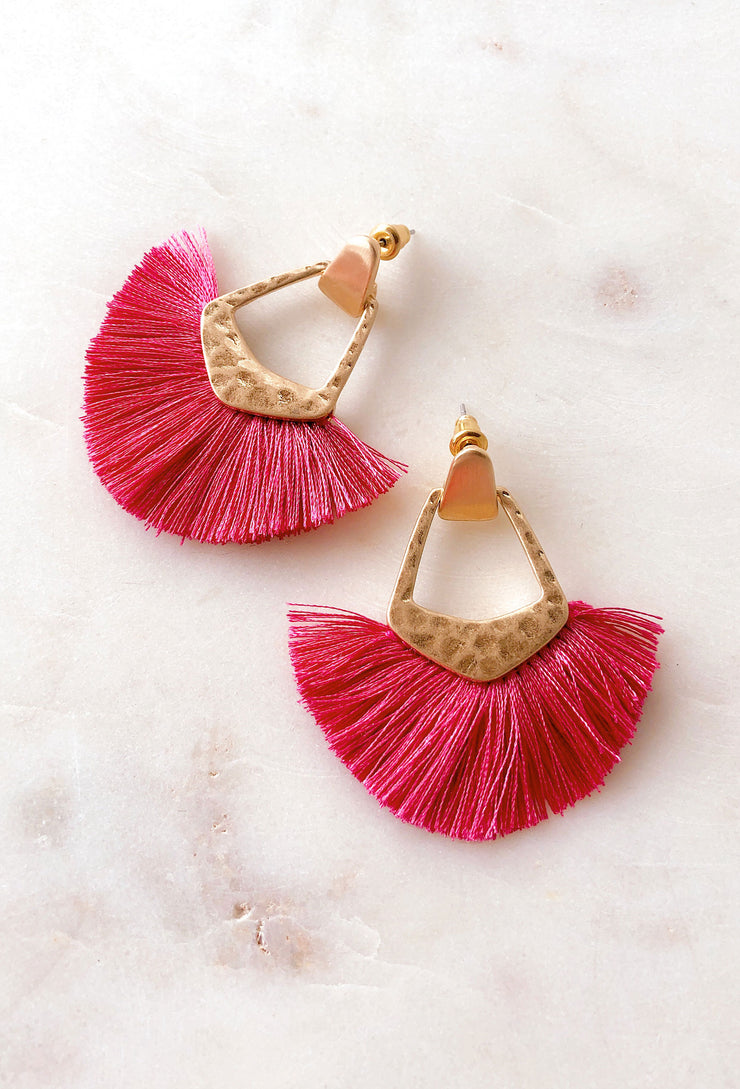 Kinsley Fringe Earrings in Pink