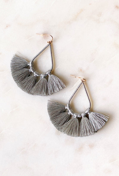Kirsten Tassel Statement Earring in Silver, silver threaded statement with threaded tassels on gold hook backing