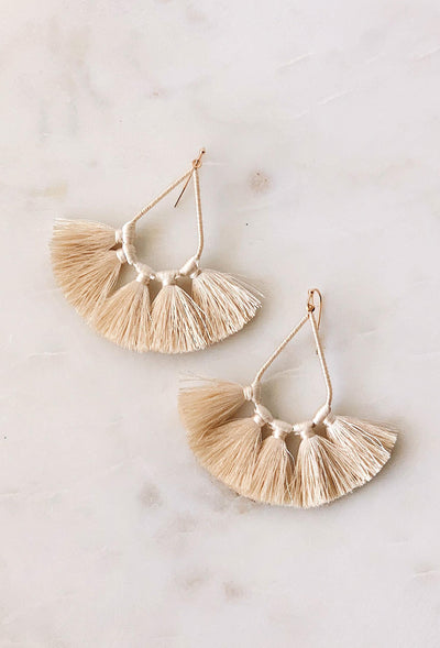 Kirsten Tassel Statement Earrings in Cream, teardrop statement earrings wrapped in ivory threaded with matching ivory tassels