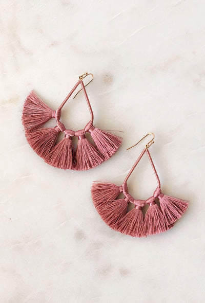Kirsten Tassel Statement Earrings in Mauve, tear drop shaped earrings with mauve threaded tassels