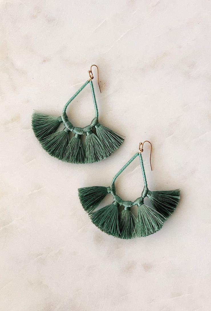 Kirsten Tassel Statement Earrings in Sage Green, tear drop shaped earrings with light green threaded tassels