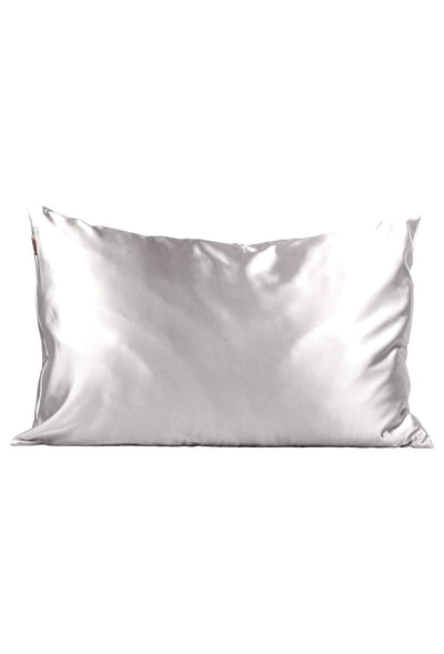 Kitsch Satin Pillowcase in Silver, silver satin pillowcase standard size