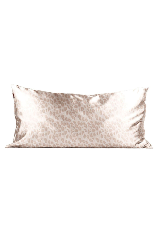 Kitsch Satin Pillowcase in Silver - King Size, satin silk pink leopard pillowcase king size