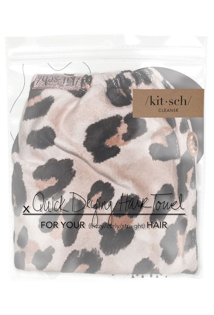 Kitsch Microfiber Hair Towel in Leopard, leopard print hair towel