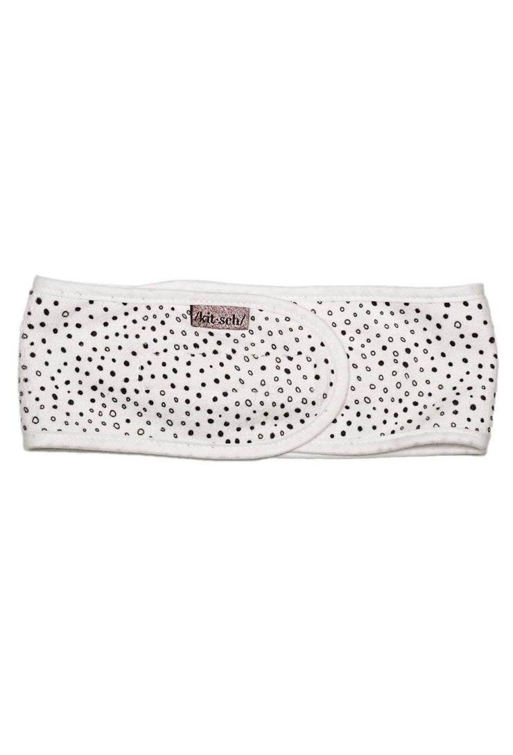 Kitsch Microfiber Spa Headband in Micro Dot, white towel velcro headband with small black dots
