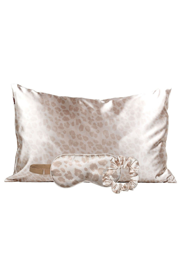 Kitsch Satin Sleep Set in Leopard, light blush leopard sleep set - includes satin silk pillowcase, eye mask, and scrunchies