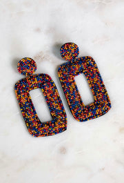 Kris Multi Colored Beaded Statement Earrings, multi colored beaded lightweight statement earrings