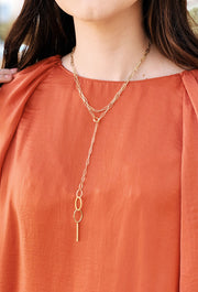 Layered Lariat Gold Chain Link Necklace, gold y lariat necklace with multiple different colored gold chain linksLayered Lariat Gold Chain Link Necklace, gold y lariat necklace with multiple different colored gold chain links