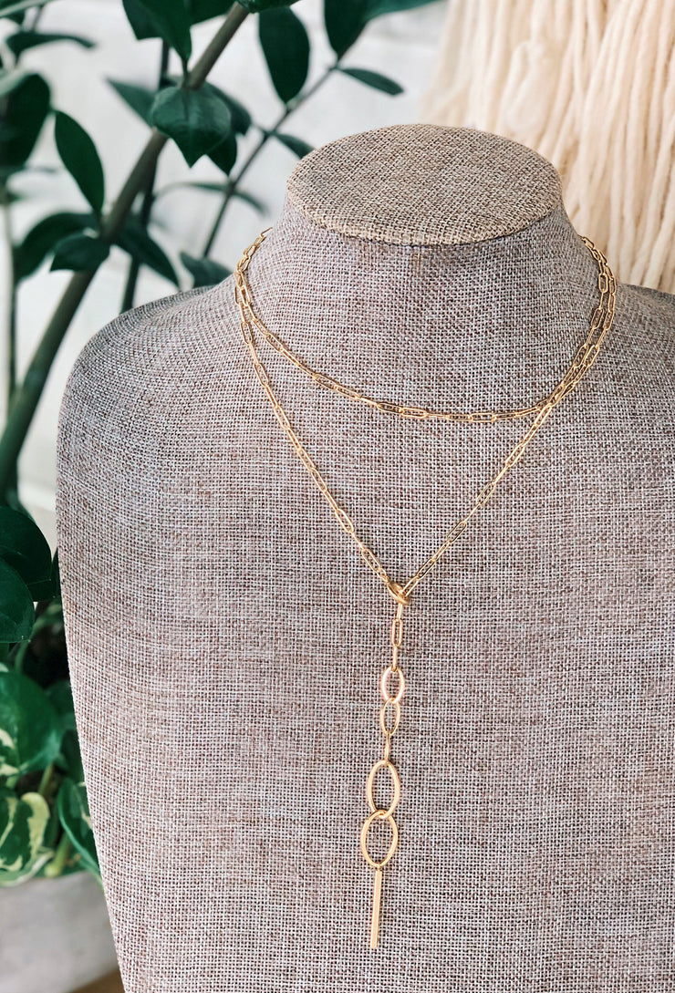 Layered Lariat Gold Chain Link Necklace, gold y lariat necklace with multiple different colored gold chain links