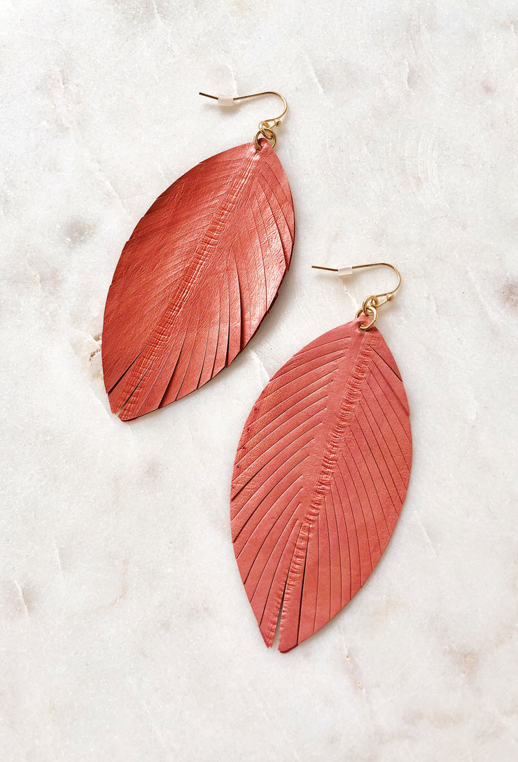 Layla Genuine Leather Earrings in Coral