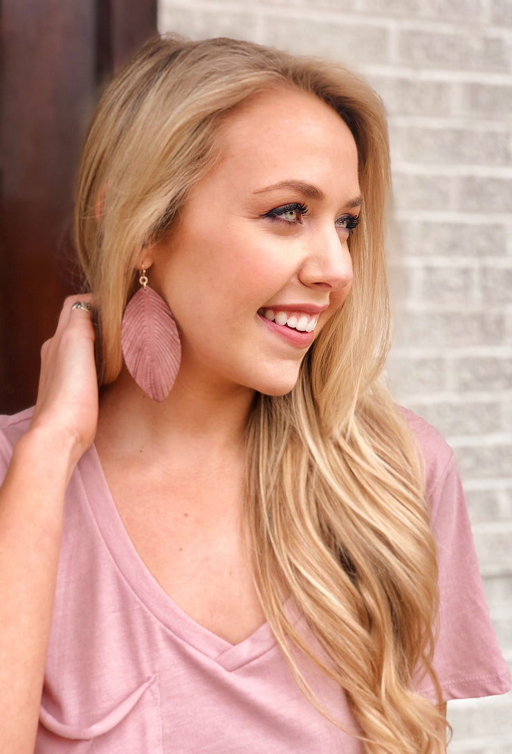 Layla Genuine Leather Earrings in Mauve