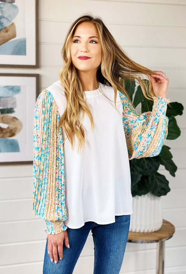 Lena Floral Sleeve Blouse, white blouse with floral contrasting sleeve