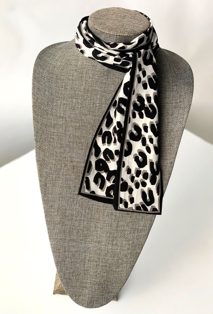 Lena Cheetah Print Scarf Tie in Black, black and white cheetah print scarf