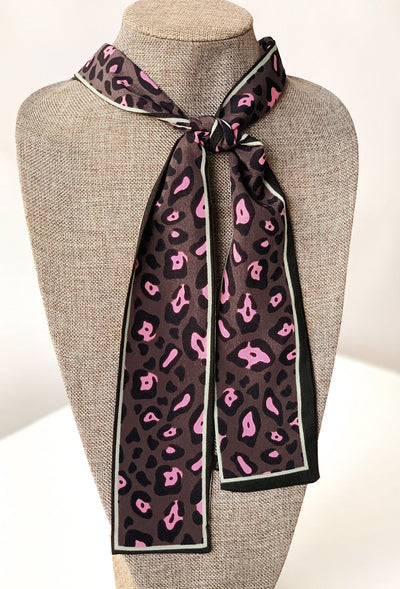 Lena Cheetah Print Scarf Tie in Hot Pink, hot pink cheetah print scarf tie with black trimming