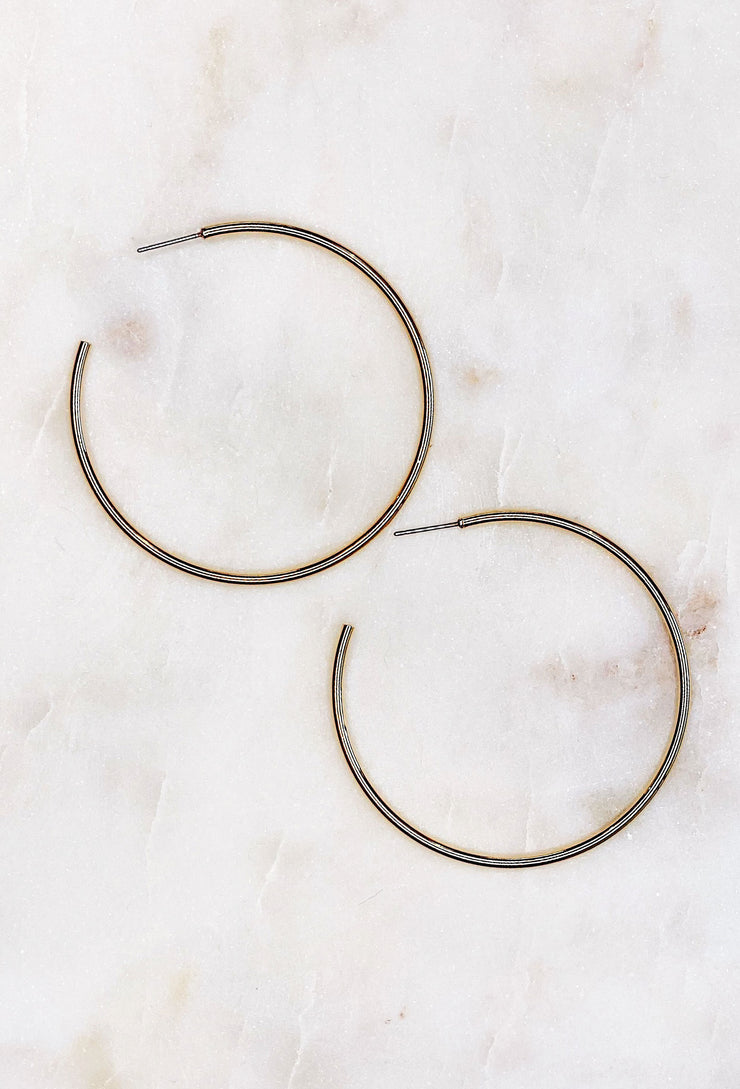 Lennon Thin Gold Hoop Earrings, affordable gold hoops