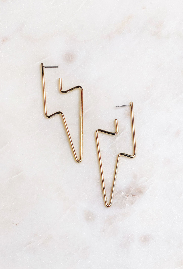 Gold Lighting Bolt Hoop Earring, gold metal hoop in the shape of a lightning bolt