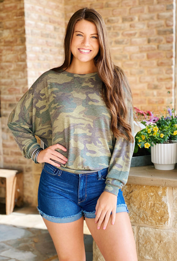 cozy camo pullover, lounge top, green camo top