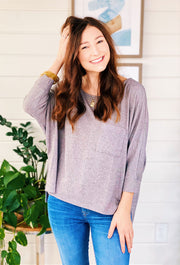Lina Pocket Top in Grey, gray 3/4 sleeve top with front pocket