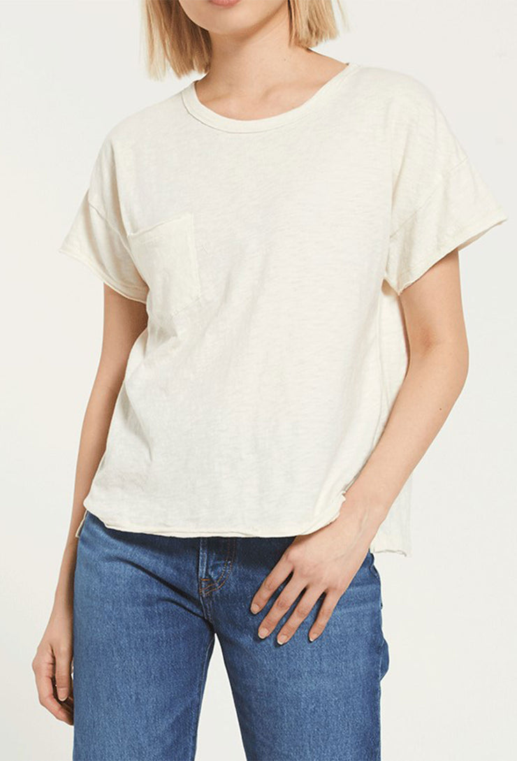 Z SUPPLY Lina Slub Tee in Bone, cropped boxy boyfriend tee with front pocket