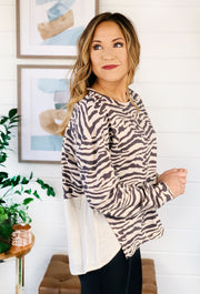 Linen Zebra Top in Cream, cream zebra print sweatshirt with linen detail on the back