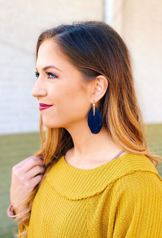 Lisa Feather Earrings in Navy, navy feather statement earrings