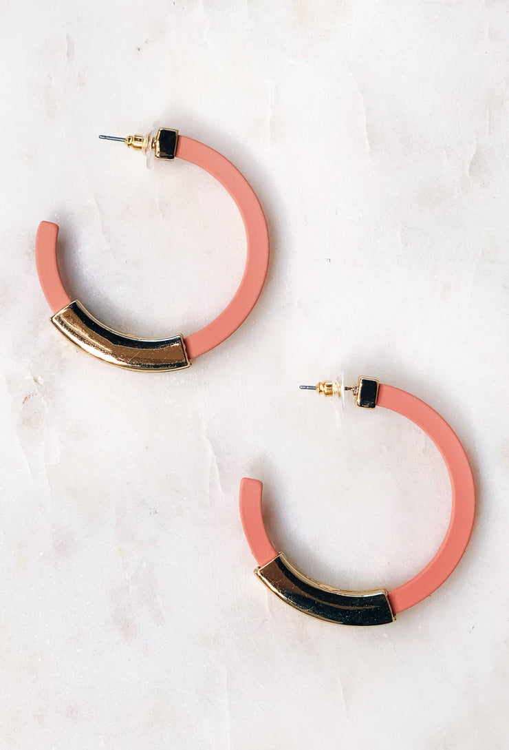 Lita Hoop Earrings in Pink, coral pink hoop earrings with gold bar