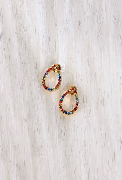 Liz teardrop Rainbow Studs, tear drop shape earrings with rainbow crystals