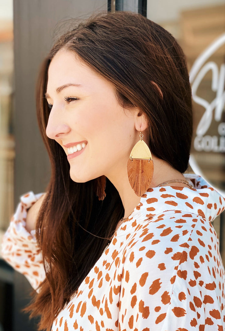 Loreta Tan Leather Earrings, cut  stamped leather with gold metal at t